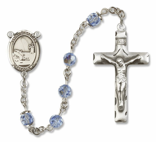 "Bliss Mfg St Sebastian Fishing Sterling Silver Patron Saint  Swarovski Crystal Rosary - ""More Options"""