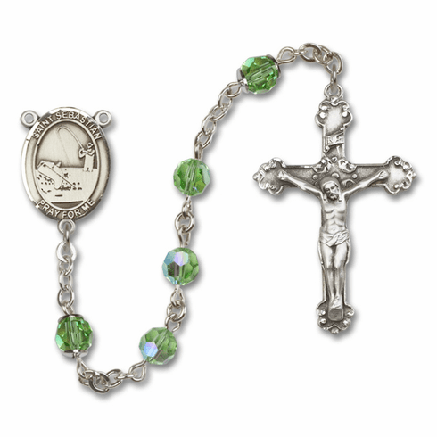 "Bliss Mfg St Sebastian Fishing Swarovski Crystal Sterling Silver Catholic Saint Rosary - ""More Options"""