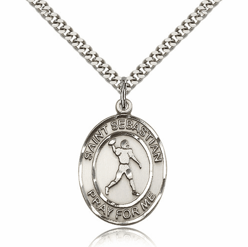St Sebastian Football Player Sterling Silver Sports Necklace