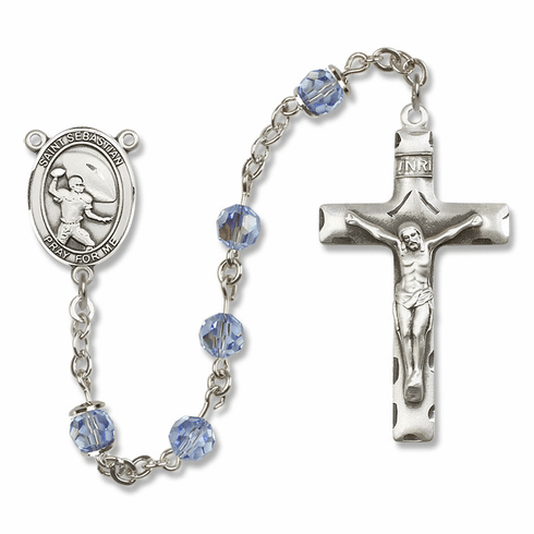 "Bliss Mfg St Sebastian Football Sterling Silver Patron Saint  Swarovski Crystal Rosary - ""More Options"""
