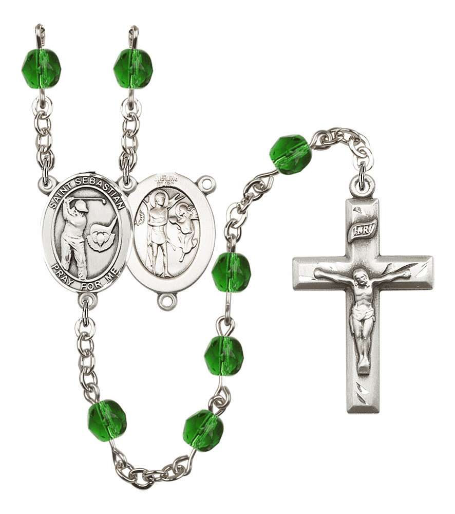 Bliss Mfg St Sebastian Golf Birthstone Crystal Prayer Rosary - More Colors