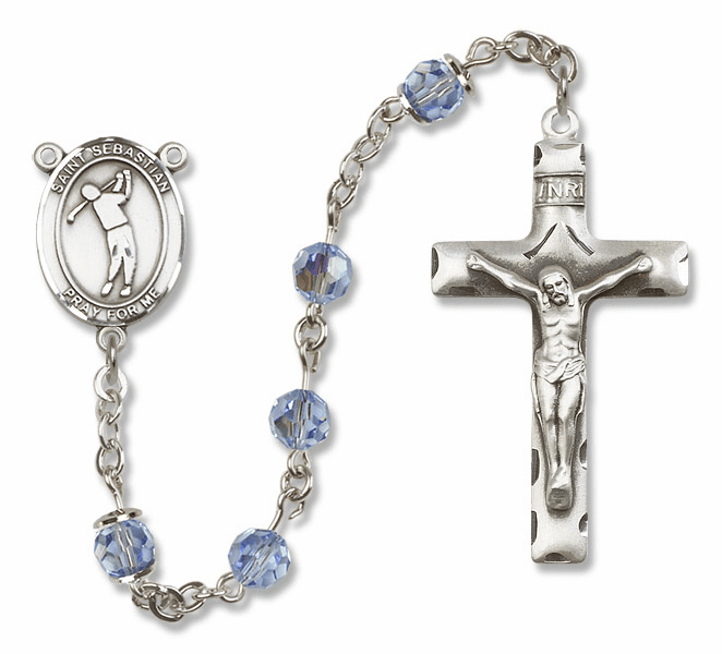 "Bliss Mfg St Sebastian Golf Sterling Silver Patron Saint  Swarovski Crystal Rosary - ""More Options"""
