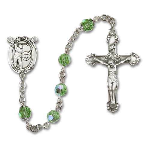 "Bliss Mfg St Sebastian Golf Swarovski Crystal Sterling Silver Catholic Saint Rosary - ""More Options"""