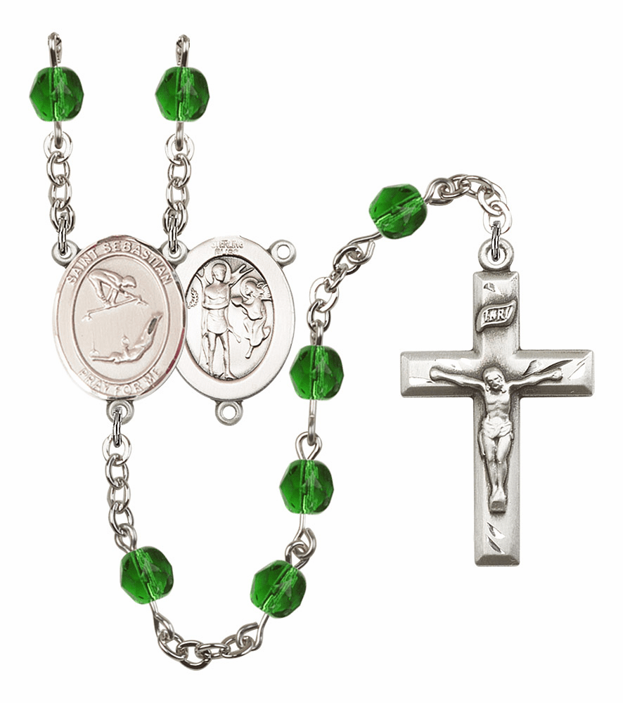 "Bliss Mfg St Sebastian Gymnastics Birthstone Crystal Prayer Rosary  - ""More Colors"""