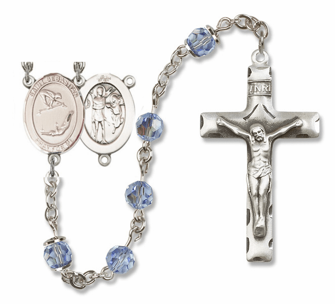 "Bliss Mfg St Sebastian Gymnastics Sterling Silver Patron Saint  Swarovski Crystal Rosary - ""More Options"""