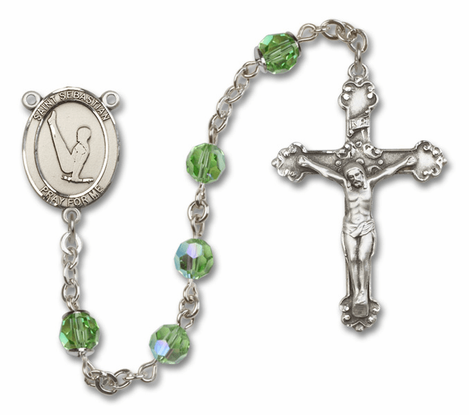 "Bliss Mfg St Sebastian Gymnastics Swarovski Crystal Sterling Silver Catholic Saint Rosary - ""More Options"""