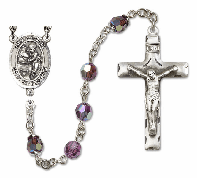 """Bliss Mfg St Anthony Spanish San Antonio Swarovski Crystal Sterling, Gold-filled and 14kt Gold Rosary """"More Options"""""""
