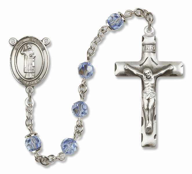 "Bliss Mfg St Stephen the Martyr Sterling Silver Patron Saint  Swarovski Crystal Rosary - ""More Options"""