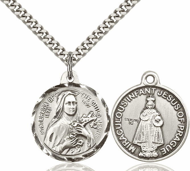 Bliss St Theresa and Infant of Prague Medal Necklace