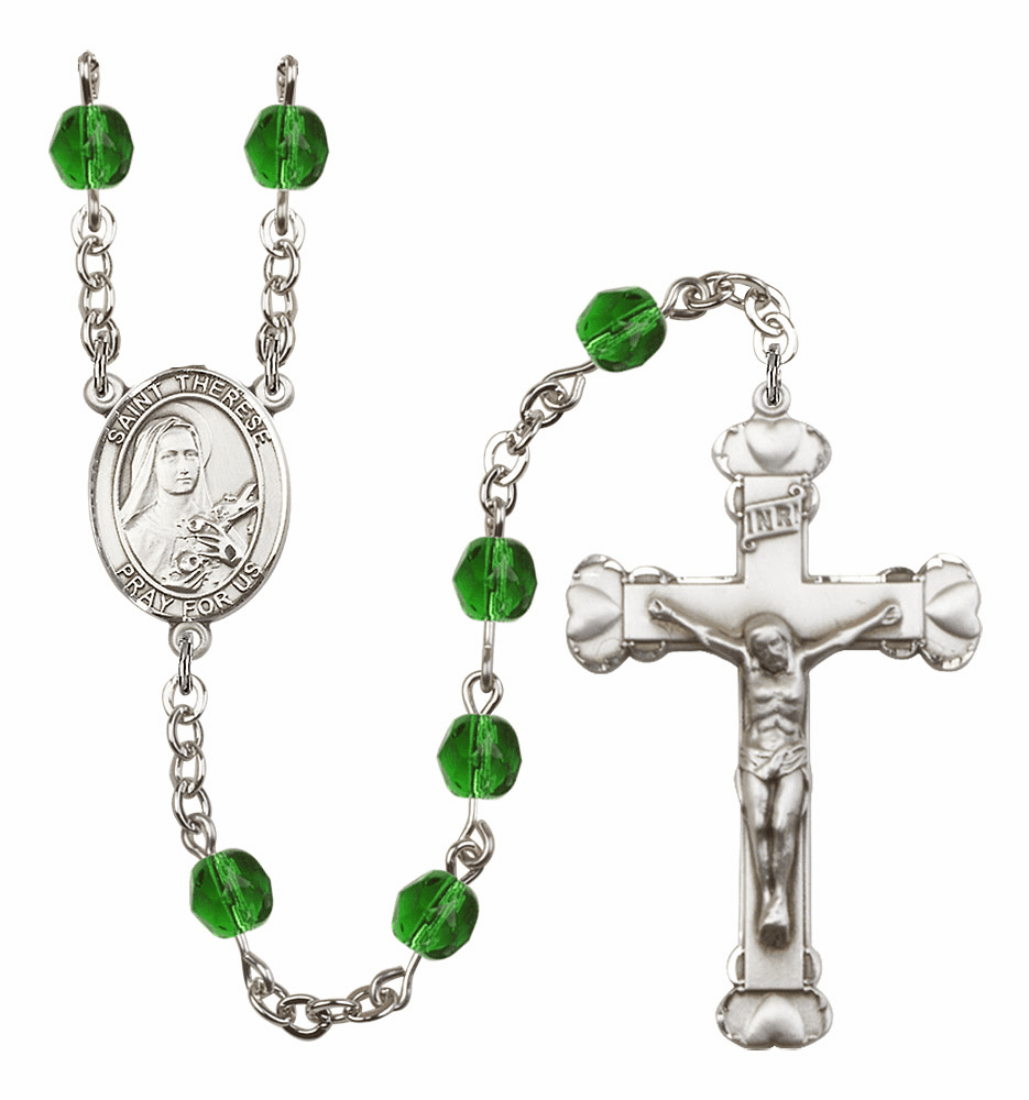 """Bliss Mfg St Therese Lisieux Heart Birthstone Crystal Prayer Rosary  - """"More Colors"""""""