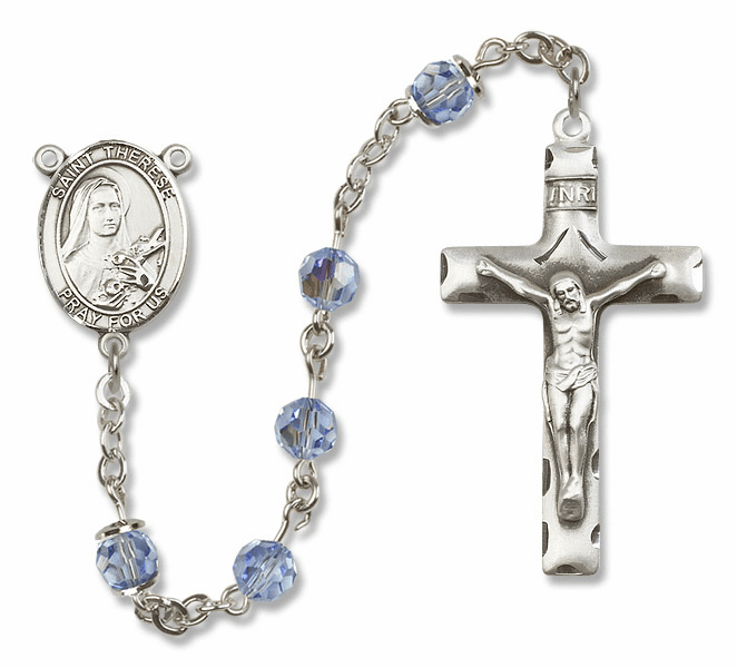 """Bliss Mfg St Therese Lisieux Sterling Silver Patron Saint  Swarovski Crystal Rosary - """"More Options"""""""