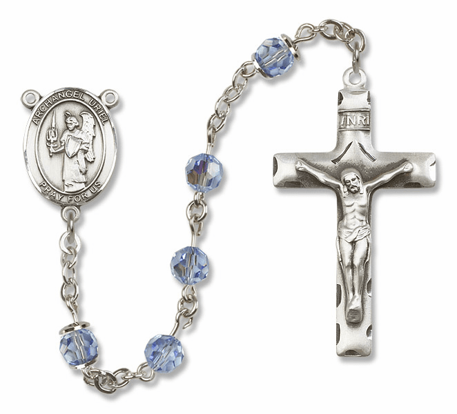 "Bliss Mfg St Uriel the Archangel Sterling Silver Patron Saint  Swarovski Crystal Rosary - ""More Options"""