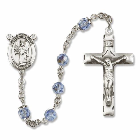 """Bliss Mfg St Uriel the Archangel Sterling Silver Patron Saint  Swarovski Crystal Rosary - """"More Options"""""""