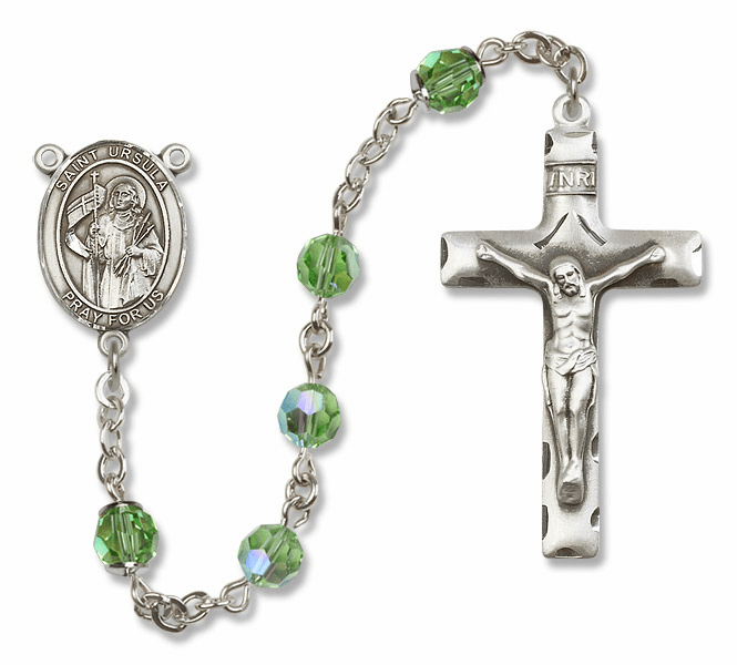 "Bliss Mfg St Ursula Swarovski Crystal Sterling Silver Catholic Saint Rosary - ""More Options"""