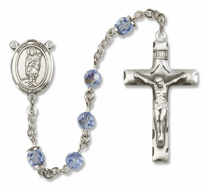 """Bliss Mfg St Victor of Marseilles Sterling Silver Patron Saint  Swarovski Crystal Rosary - """"More Options"""""""