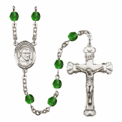 Bliss Mfg St Vincent de Paul Heart Birthstone Crystal Rosary  - More Colors