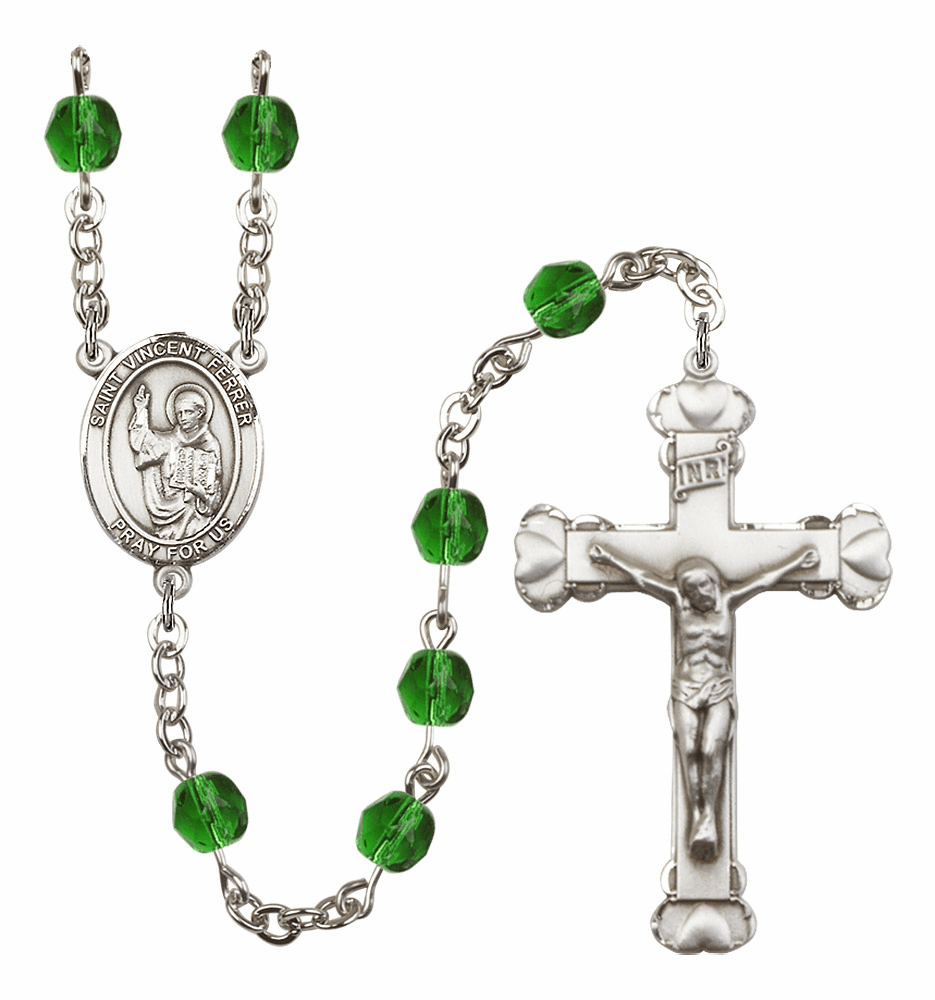 Bliss Mfg St Vincent Ferrer Heart Birthstone Crystal Rosary  - More Colors