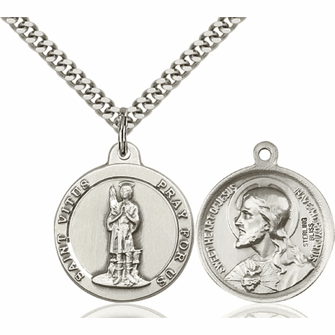 Bliss St Vitus and Sacred Heart Medal Necklace