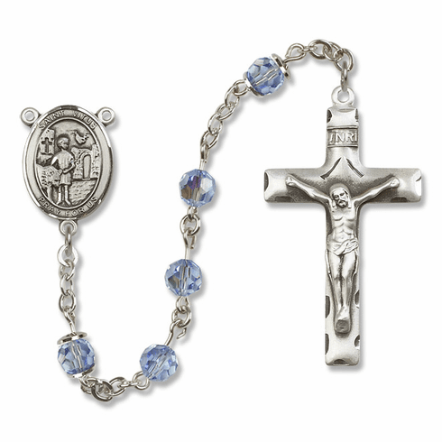 "Bliss Mfg St Vitus Sterling Silver Patron Saint  Swarovski Crystal Rosary - ""More Options"""