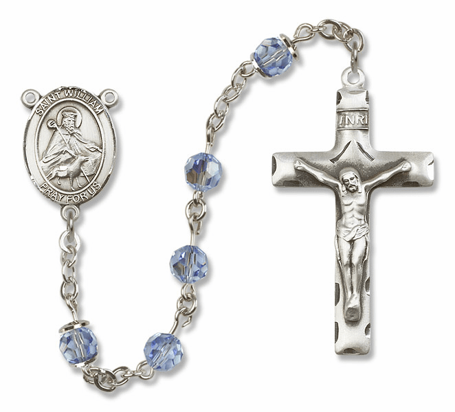 "Bliss Mfg St William of Rochester Sterling Silver Patron Saint  Swarovski Crystal Rosary - ""More Options"""
