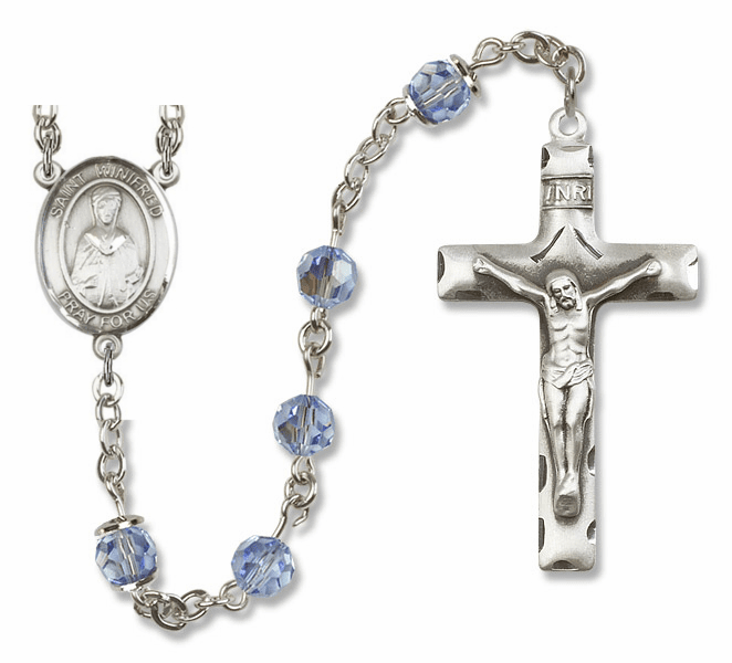 """Bliss Mfg St Winifred of Wales Sterling Silver Patron Saint  Swarovski Crystal Rosary - """"More Options"""""""