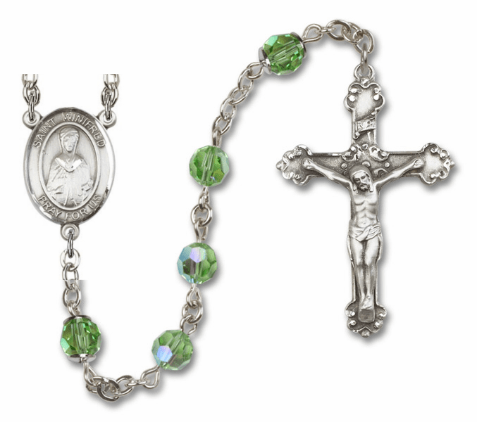 """Bliss Mfg St Winifred of Wales Swarovski Crystal Sterling Silver Catholic Saint Rosary - """"More Options"""""""