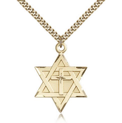 Bliss Mfg Star of David 14kt Gold-filled Pendant with Cross Necklace