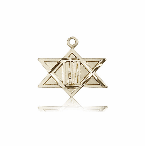 "Bliss Mfg Star of David ""I AM"" Solid 14kt Gold Medal Necklace"