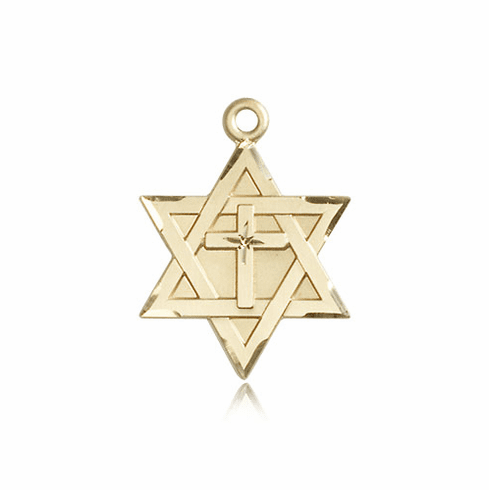 Bliss Mfg Star of David Solid 14kt Gold Pendant with Cross