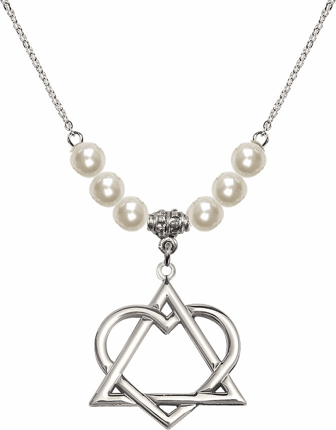 Bliss Mfg Sterling Silver Adoption Heart Sterling Charm with Faux Pearls Necklace
