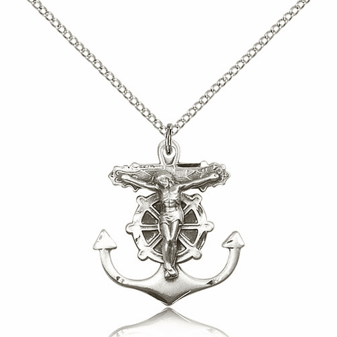 Bliss Mfg Sterling Silver Anchor Crucifix Medal Pendant Necklace
