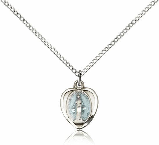 Bliss Mfg Sterling Silver Blue Heart Shape Miraculous Medal Pendant Necklace