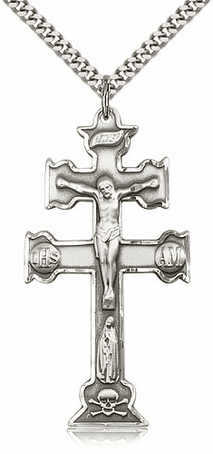 Bliss Mfg Sterling Silver Caravaca Crucifix Cross Medal Medal Pendant Necklace