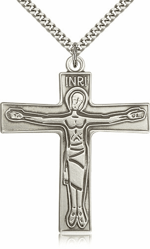 Bliss Mfg Sterling Silver Cursillio Crucifix Cross Medal Medal Pendant Necklace