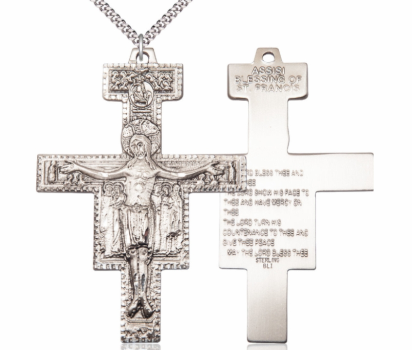Bliss Mfg Sterling Silver Damiano Crucifix with Prayer Necklace