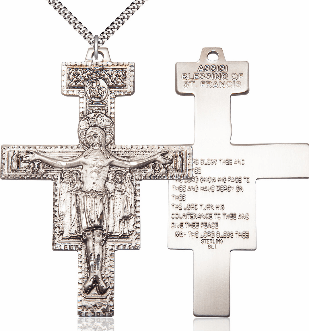 Bliss Mfg Sterling Silver Damiano Crucifix with Prayer Medal Medal Pendant Necklace