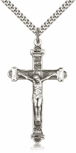 Bliss Mfg Sterling Silver Detailed Crucifix Cross Medal Medal Pendant Necklace