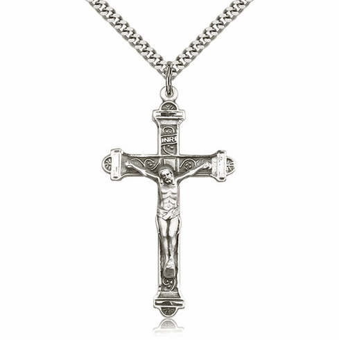 Bliss Mfg Sterling Silver Detailed Crucifix Pendant Necklace