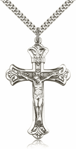 Bliss Mfg Sterling Silver Detailed Flared Crucifix Necklace
