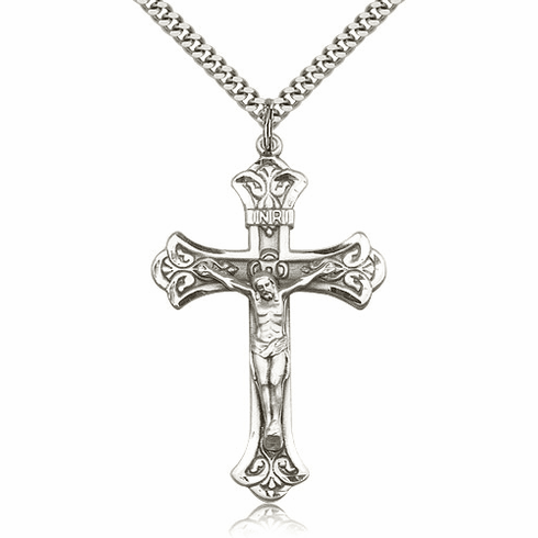 Bliss Mfg Sterling Silver Detailed Flared Crucifix Cross Medal Medal Pendant Necklace