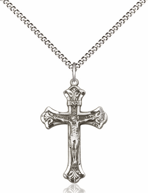 Bliss Mfg Sterling Silver Detailed Flared Crucifix Medal Pendant Necklace