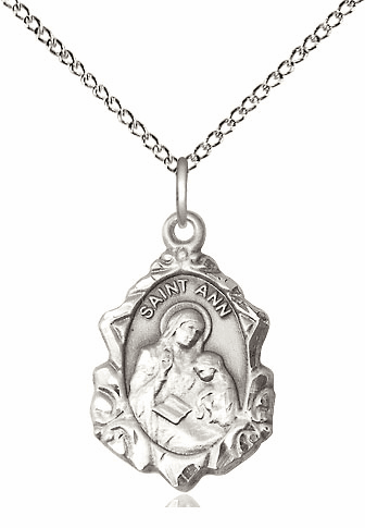 Bliss Mfg Sterling Silver Fancy St Ann and Mary Pendant Necklace