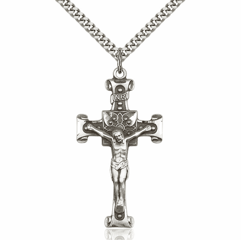 Bliss Mfg Sterling Silver Flower Crucifix Pendant Necklace