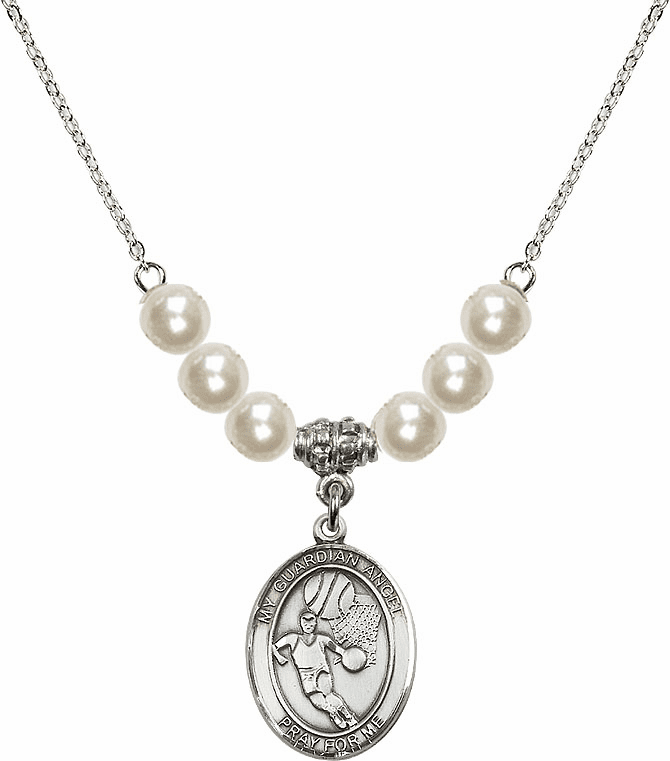 Bliss Mfg Guardian Angel Basketball Sterling Charm with Faux Pearls Necklace