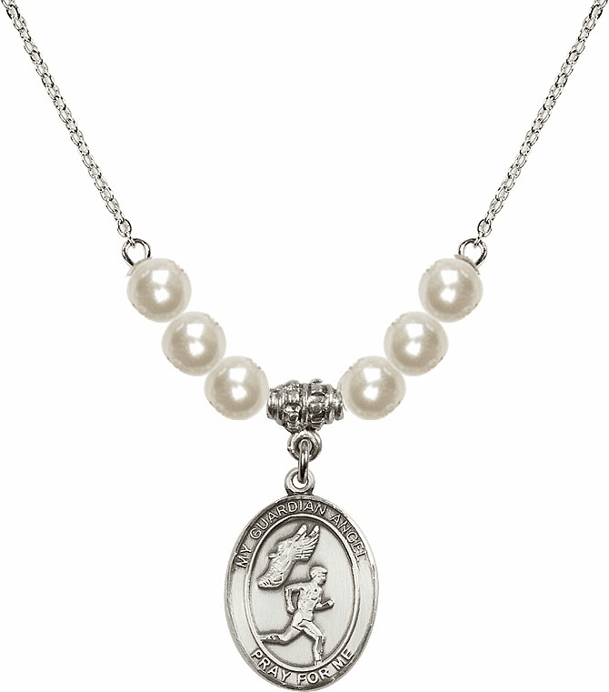 Bliss Mfg Guardian Angel Boy's Track and Field Sterling Charm with Faux Pearls Necklace