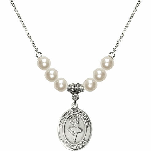 Bliss Mfg Guardian Angel Dance Sterling Charm with Faux Pearls Necklace