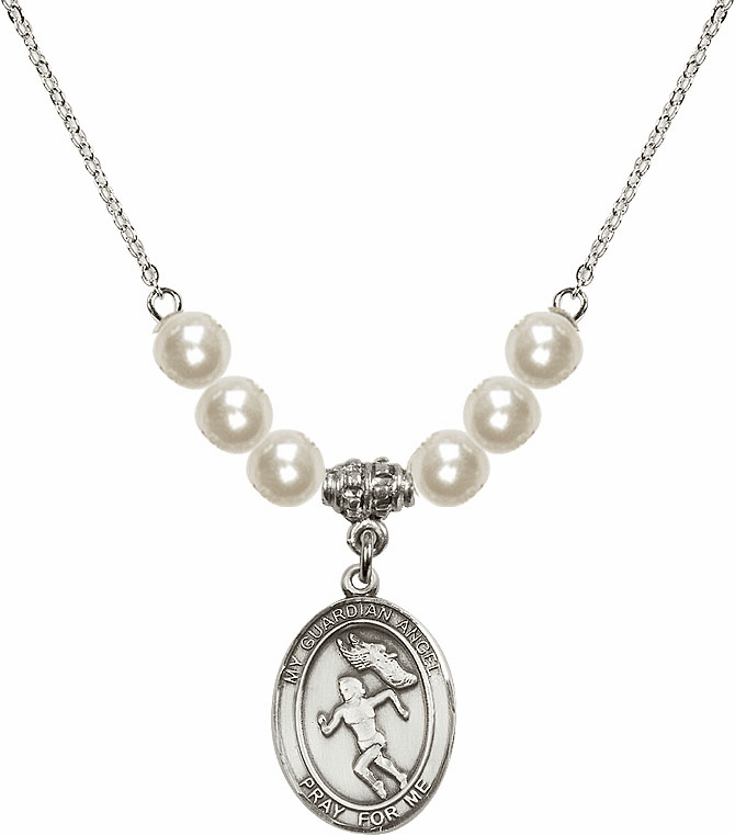 Bliss Mfg Guardian Angel Girl's Track and Field Sterling Charm with Faux Pearls Necklace
