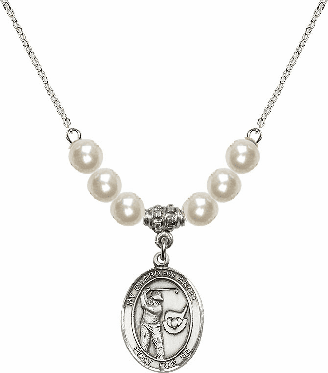 Bliss Mfg Guardian Angel Golf Sterling Charm with Faux Pearls Necklace