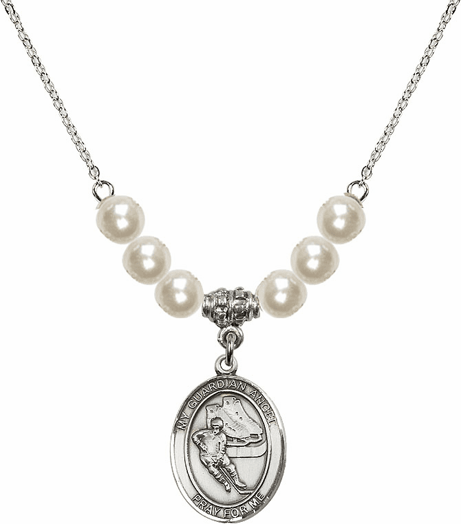 Bliss Mfg Guardian Angel Ice Hockey Sterling Charm with Faux Pearls Necklace