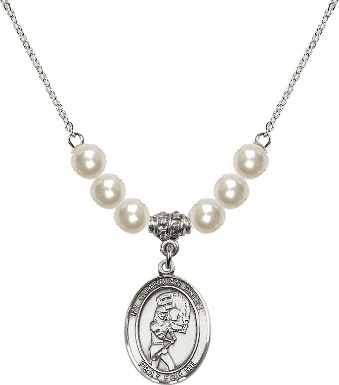 Bliss Mfg Sterling Silver Guardian Angel Softball Sterling Charm with Faux Pearls Necklace
